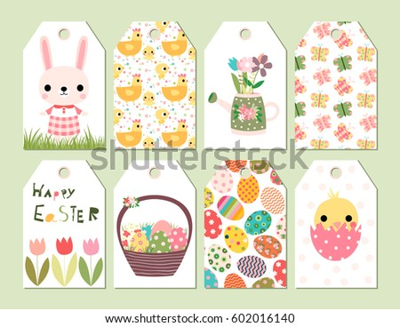 Vector set happy easter spring cute stock vector 602016140 vector set of happy easter and spring cute gift tags or cards with drawings of bunny negle Choice Image