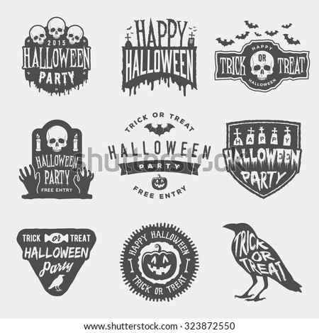 vector set of happy halloween vintage badges, emblems and labels. halloween party templates with pumpkin, skull, graveyard, raven - stock vector