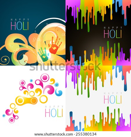 vector set of happy holi background with different colors - stock vector