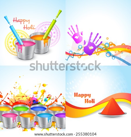 vector set of happy holi design with bucket, pichkari and gulal  - stock vector