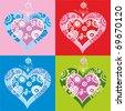 vector set of hearts - stock vector