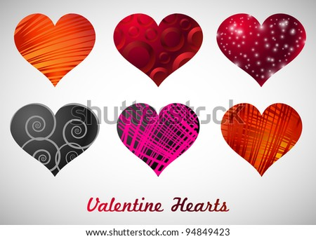 vector set of hearts - stock vector