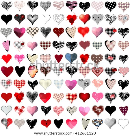 Vector set of 100 hearts for wedding and valentine design - stock vector
