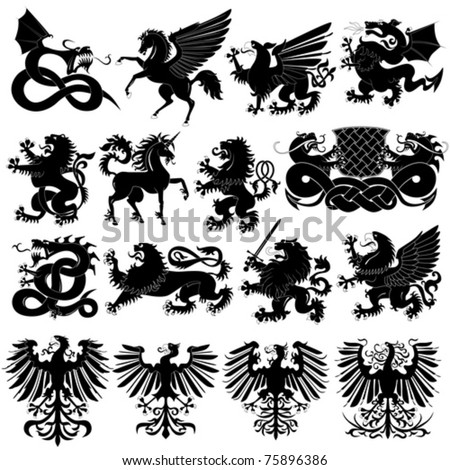 Vector set of heraldic animals - stock vector