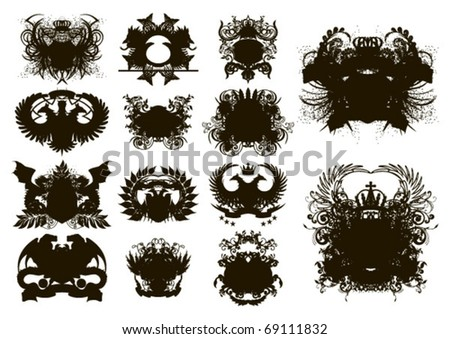 Vector set of heraldic shields - stock vector