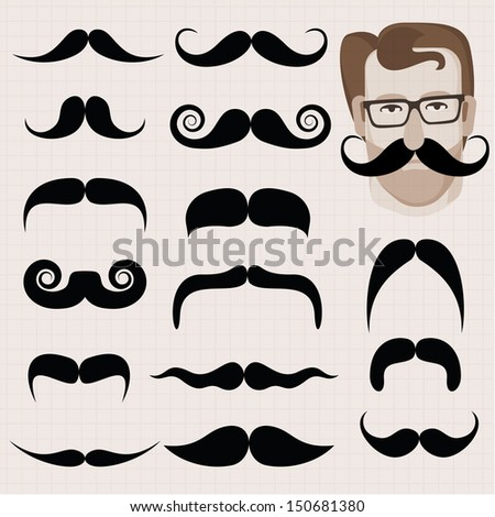 Vector set of hipster and retro mustaches