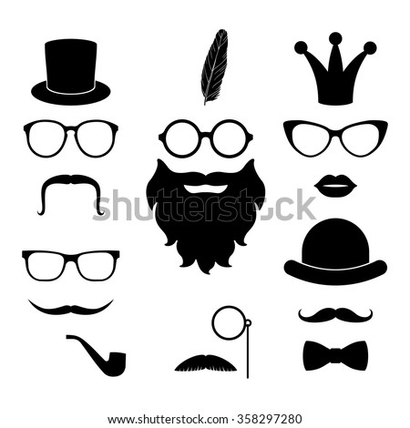 Vector set of hipster elements - mustache, glasses, beard, hat, lips, whisker, crown, feather, monocle. Best match elements for photo sessions and party - stock vector