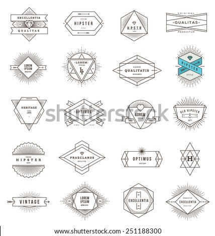 Vector set of hipster line emblems and signs with sunburst - stock vector