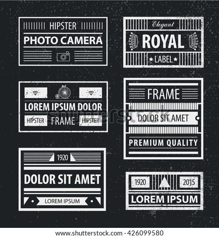 Vector set of hipster minimal geometric linear frames , borders , labels for your logo, badge or crest for club, bar, cafe, restaurant, hotel, boutique. Textured