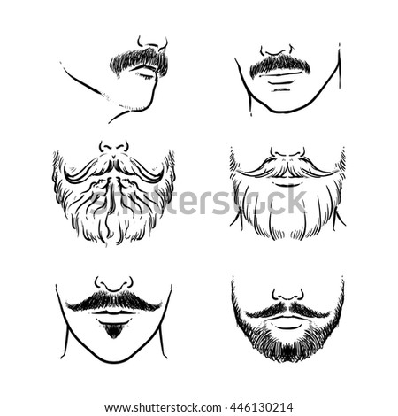 Vector set of hipster mustache. Hand drawn beards outline vector illustration. - stock vector
