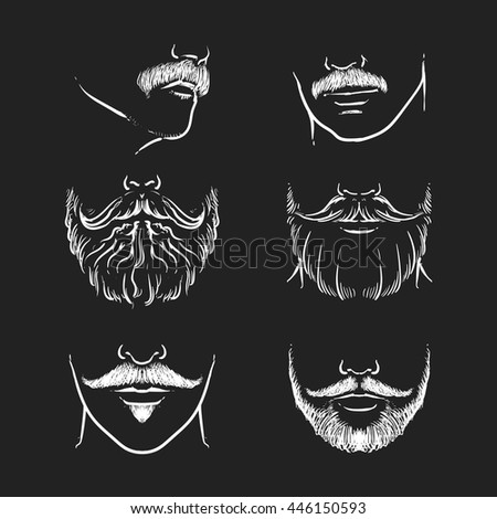 Vector set of hipster mustache on a black background. Hand drawn beards outline vector illustration.