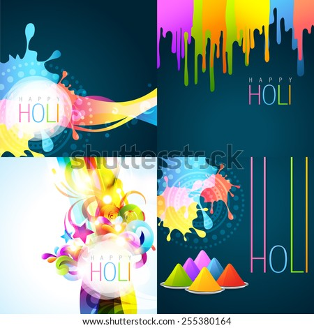 vector set of holi background with colors of gulal - stock vector