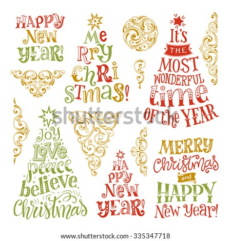 Vector set of holidays lettering and ornamental elements. Merry Christmas and Happy New Year text lettering for invitation and greeting card, prints and posters. Hand drawn calligraphic design - stock vector