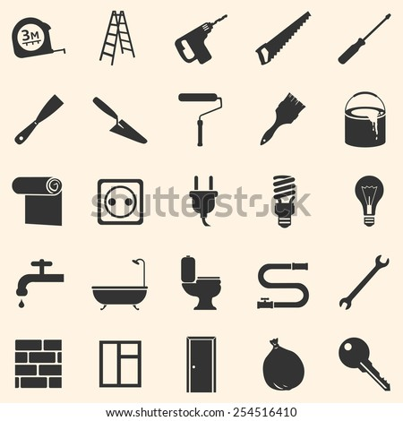 Vector Set of Home Repairing, Building,Construction and Decoration Icons - stock vector