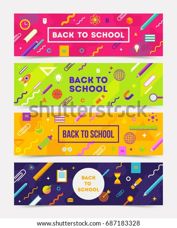 Vector set of horizontal banners - colorful abstract backgrounds with school object and supplies.