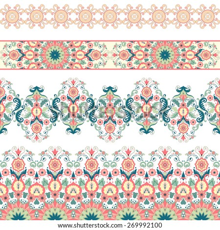 Vector set of horizontal seamless borders. Beautiful floral pattern in modern style. - stock vector
