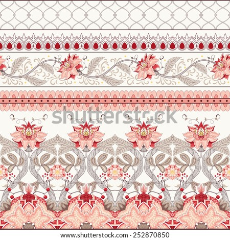 Vector set of horizontal seamless borders. The motives of the paintings of ancient Indian fabrics. Tree of Life collection. - stock vector