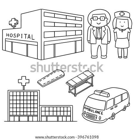 vector set of hospital and medical staff