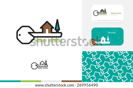 Vector : Set of House logo, business card and pattern for background,Branding identity design, real estate concept - stock vector