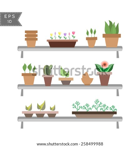 vector set of house plants in pots on the shelves - stock vector
