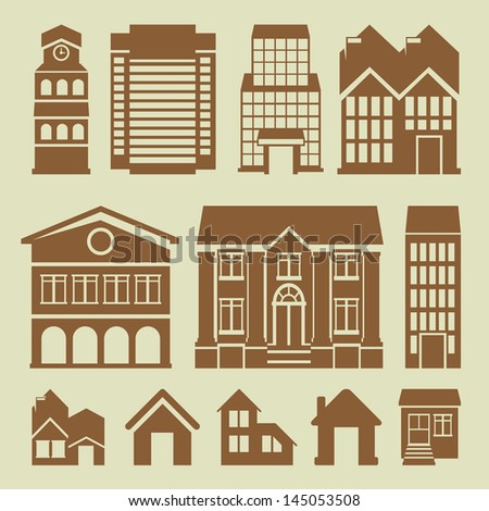 Vector set of houses icons - buildings and architecture - stock vector