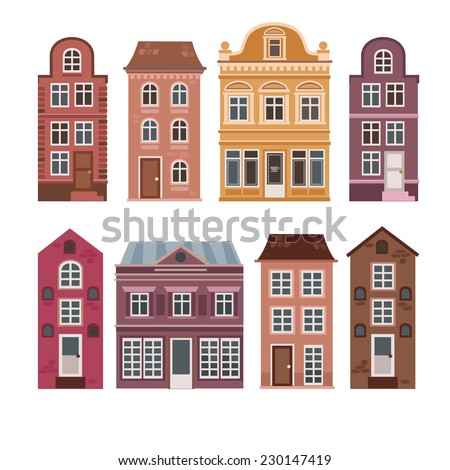 Vector Set Houses Dutch Style Different Stock Vector