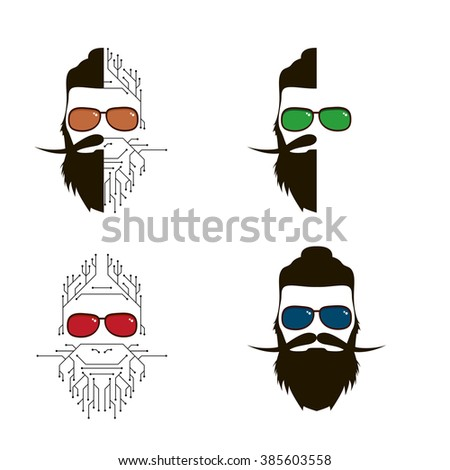 vector set of human individuals hipster. a person who lives in social networks and the Internet. Modern man, follower of new technologies and fashion. The person in the form of electronic circuit - stock vector