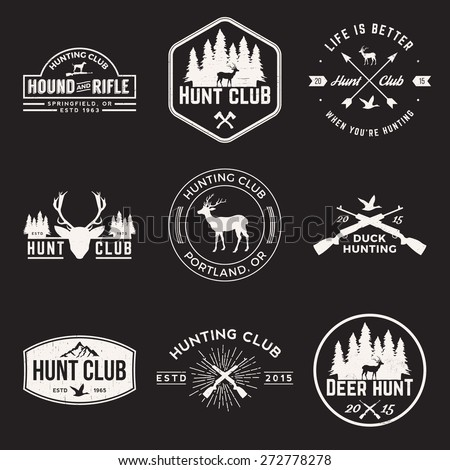 vector set of hunting club labels, badges and design elements with grunge textures - stock vector