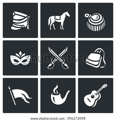 Vector Set of Hussars Icons. Shako, Horse, Epaulettes, Carnival, Battle, Sabretache, Banner, Tobacco, Guitar. Hungarian horse troops and their life and habits - stock vector