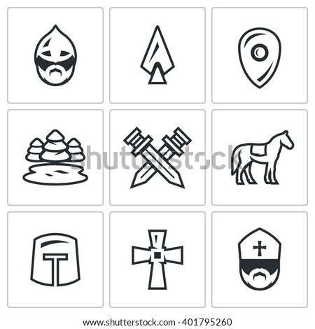 Vector Set of Ice Battle Icons. Warrior, Spear, Shield, Lake, Forest, Crossed, Swords, Knight, Crusader, Cross, Priest. Ancient battle on the lake Russian soldiers and the German knights - stock vector