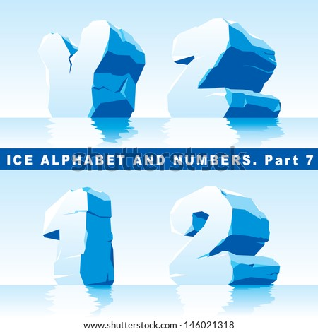 vector set of ice letters  Part 7 and numbers Part 1 - stock vector