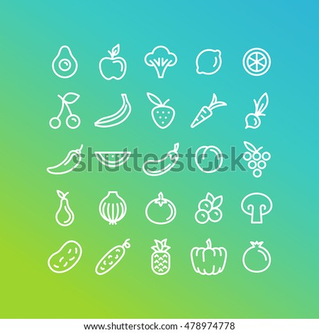 Vector set of icons and illustrations in trendy linear style - healthy, organic and vegan food collection - fruits and vegetables on green background
