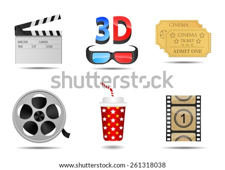Vector set of icons cinema and equipment - stock vector