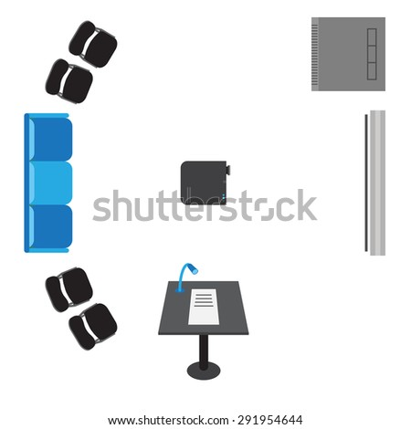 Vector set of icons for presentation - top view: sofa, chairs, projector, server, board bollard. - stock vector