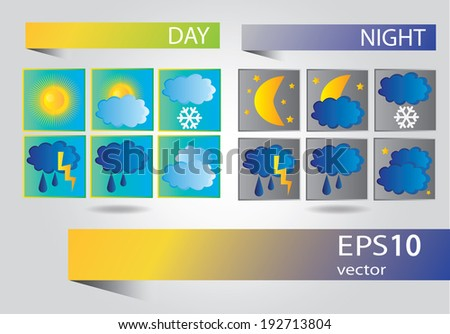 Vector set of icons for weather forecast - stock vector