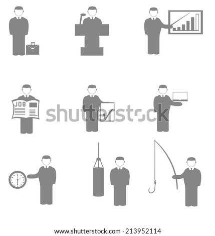 Vector set of icons in the form of a silhouette success in various activities manager - stock vector