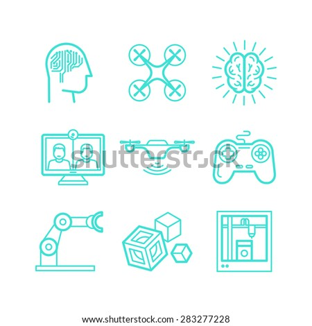 Vector set of icons in trendy linear style - innovation and new technologies - artificial intelligence, smart devices and remote control - stock vector