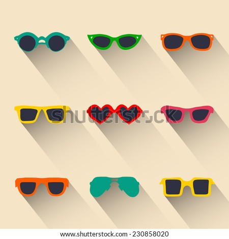 Vector set of icons of different shapes glasses in trendy flat style with long shadows effect - stock vector