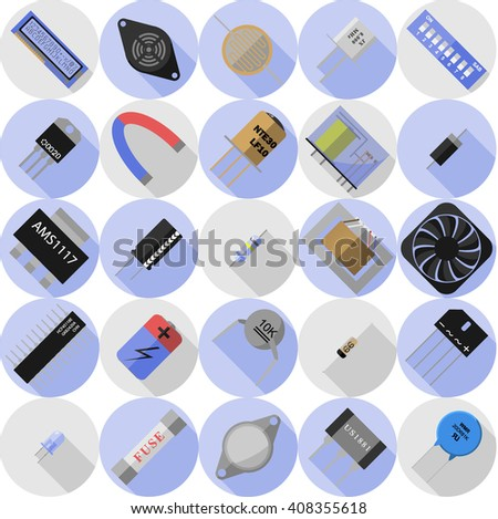 Vector set of icons of electronic components - stock vector