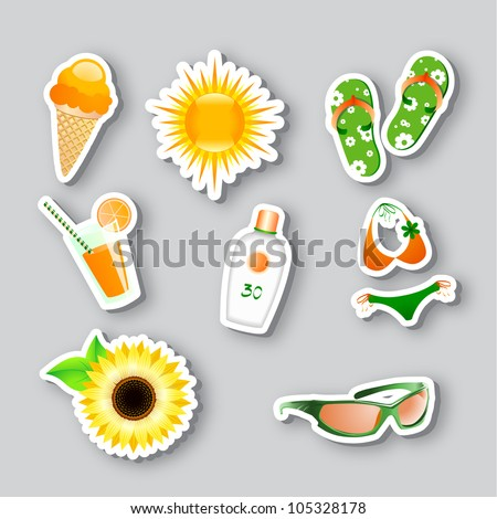 vector set of icons on the summer theme. 10 eps - stock vector