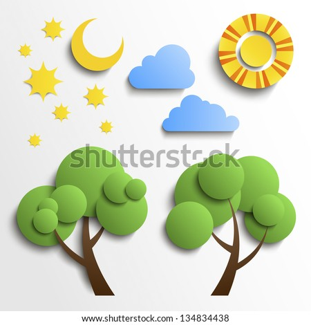 Vector set of icons. Paper cut design. Sun, moon, stars, tree, clouds - stock vector