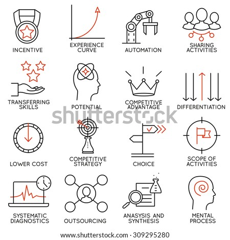 Vector set of 16 icons related to business management, strategy, career progress and business process. Mono line pictograms and infographics design elements - part 4 - stock vector