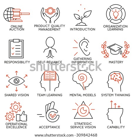 Vector set of 16 icons related to business management, strategy, career progress and business process. Mono line pictograms and infographics design elements - part 6 - stock vector