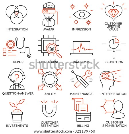 Vector set of 16 icons related to business management, strategy, career progress and business process. Mono line pictograms and infographics design elements - part 16 - stock vector