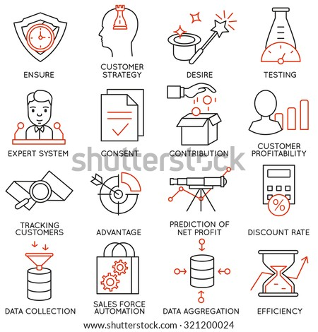 Vector set of 16 icons related to business management, strategy, career progress and business process. Mono line pictograms and infographics design elements - part 17 - stock vector