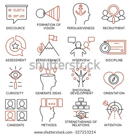 Vector set of 16 icons related to business management, strategy, career progress and business process. Mono line pictograms and infographics design elements - part 24 - stock vector