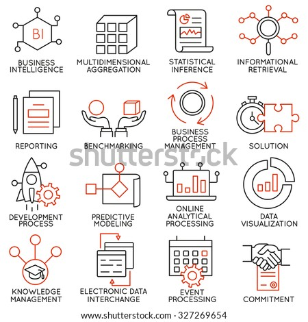 Vector set of 16 icons related to business management, strategy, career progress and business process. Mono line pictograms and infographics design elements - part 25 - stock vector