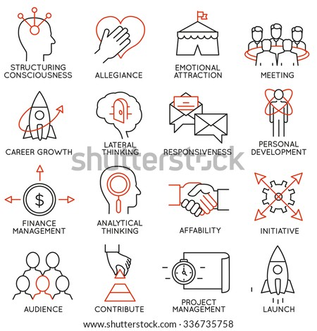 Vector set of 16 icons related to business management, strategy, career progress and business process. Mono line pictograms and infographics design elements - part 29 - stock vector