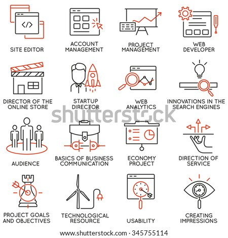 Vector set of 16 icons related to business management, strategy, career progress and business process. Mono line pictograms and infographics design elements - part 30 - stock vector