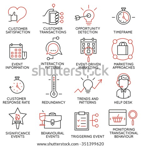 Vector set of 16 icons related to business management, strategy, career progress and business process. Mono line pictograms and infographics design elements - part 34 - stock vector